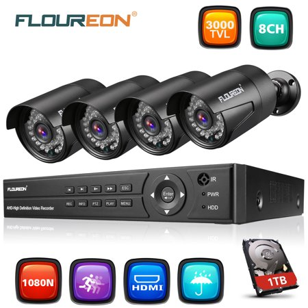 FLOUREON 8CH Security Surveillance DVR System + 4 Pack CCTV Camera (8CH 1080N AHD 3000TVL+1 TB