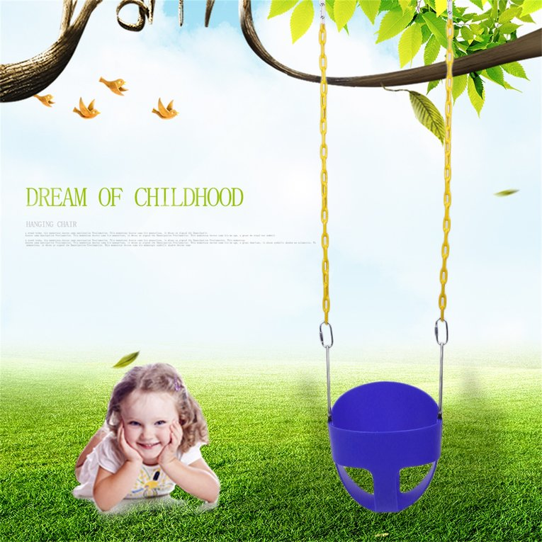Full Bucket Children Swing With Chain Toddler Buckets Garden Or Yard Tree Kids Safe Hanging Swing Seat Chair... by Generic