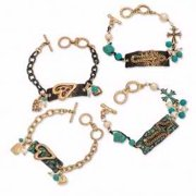 Bracelet-Mixed Metal Plaque & Toggle (Pack of 4)