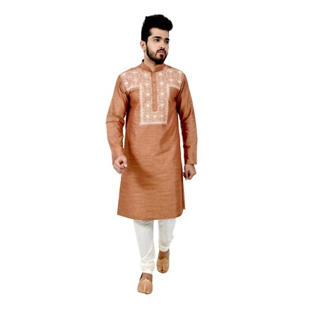 Indian Traditional Cotton Silk Light Brown Kurta Pajama for Men. This product is custom made to order. - image 6 de 6