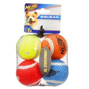 2in Squeak Tennis Ball 4-pack  Blue and Green and Orange and Red