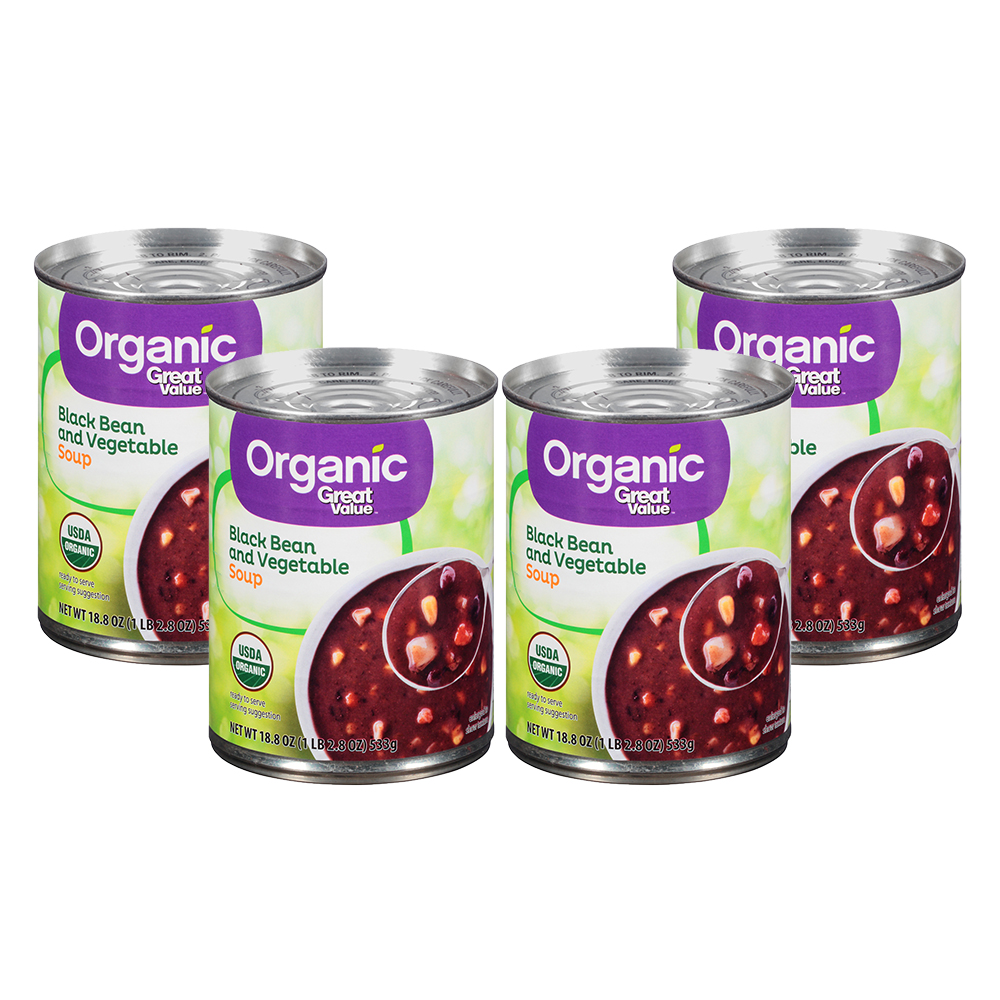 (4 Pack) Great Value Organic Black Bean & Vegetable Soup, 18.8 oz