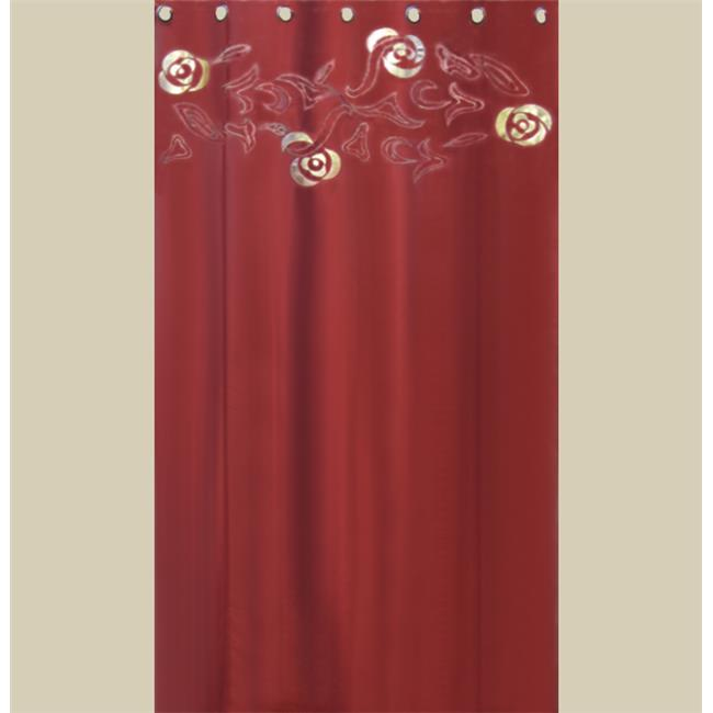 In Creation INC 8 Beautiful Silk  Organza and Jacquard Panels Curtains - Burgundy and Turquoise