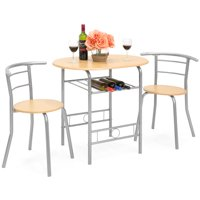 Best Choice Products 3-Piece Wooden Kitchen Dining Room Round Table and Chair Set w/ Built-In Wine Rack, Natural