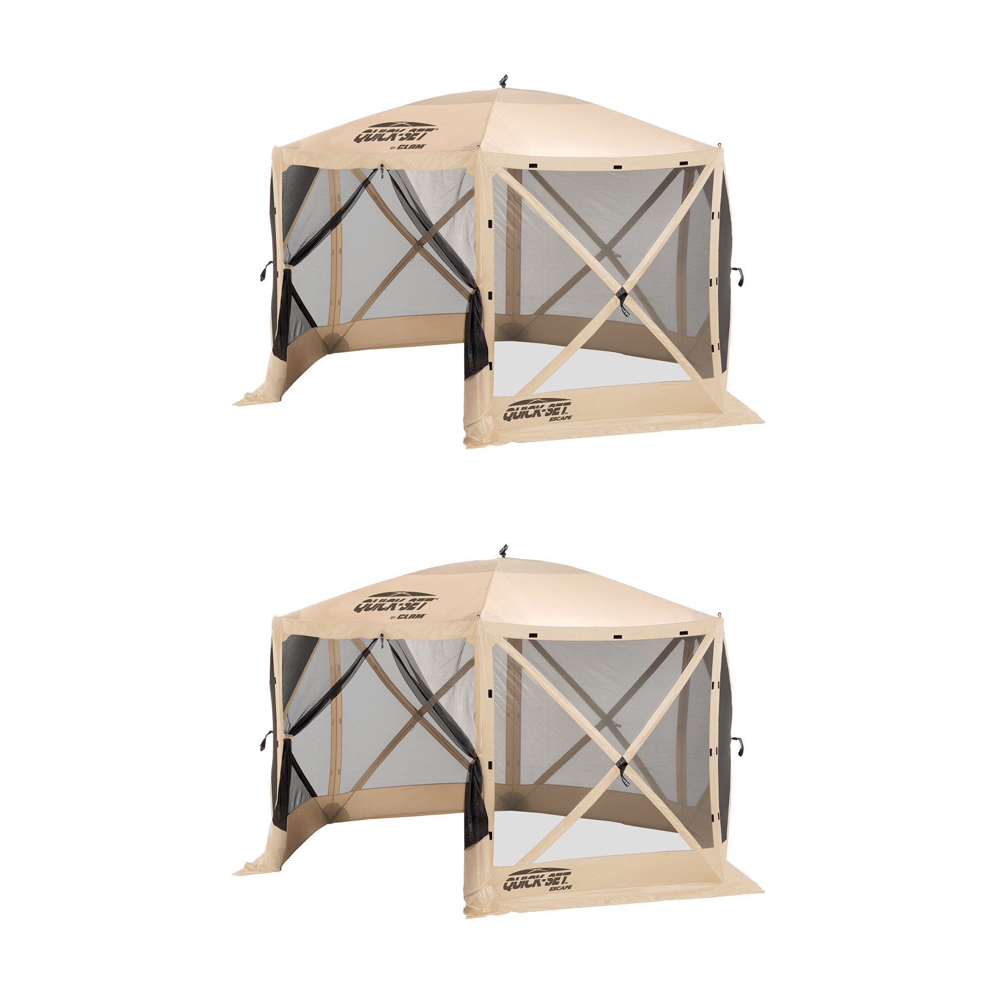 Clam Quick Set Escape Portable Camping Gazebo Canopy Shelter Screen (2 Pack)