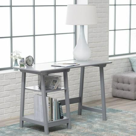 Manhattan Open Computer Desk with Adjustable Shelf - Gray Gray Computer Furniture