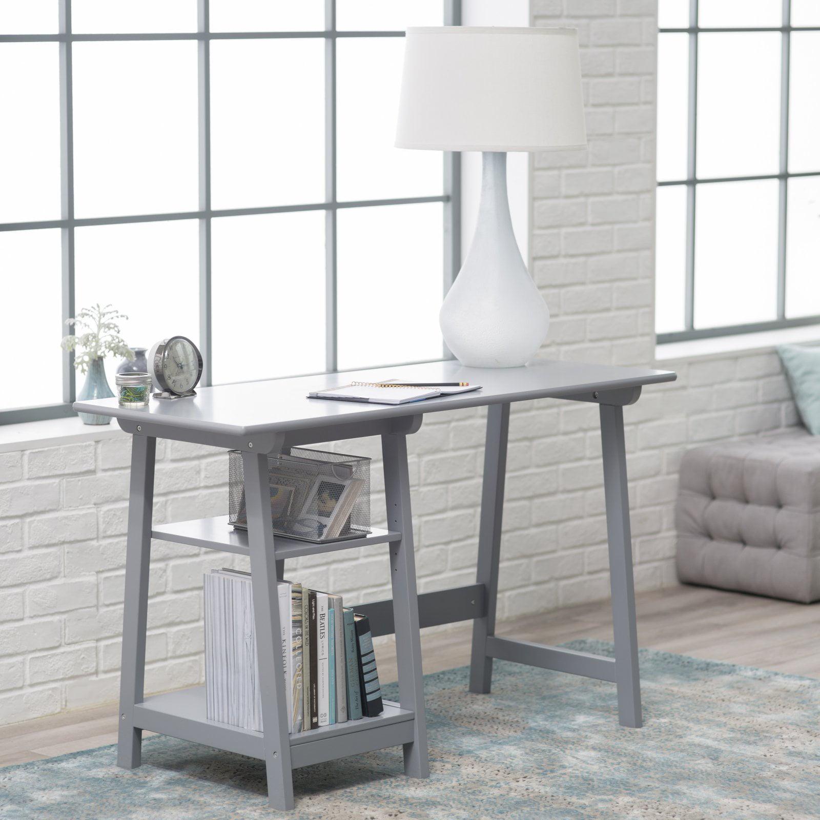 Manhattan Open Computer Desk with Adjustable Shelf - Gray