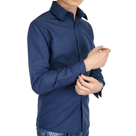 LELINTA Men's Dress Shirt Button Down Solid Custom-Fit Long Sleeve Casual Shirt Mens Dress Shirts Long Sleeve Wrinkle Free