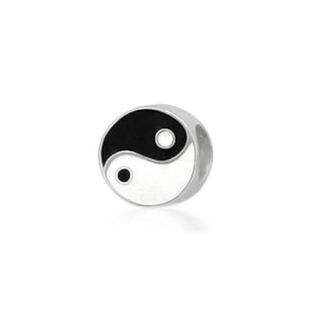Black White Yin Yang Inspirational Charm Bead For Women For Teen 925 Sterling Silver Fits European Bracelet - Black And White Bead Necklace