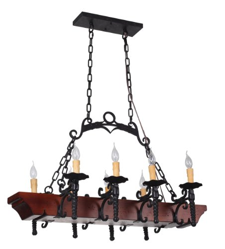 Tudor 8-Light Wrought-Iron Dining Room or Kitchen Island Chandelier with Faux Candles, Wrought Iron and Wood Foundation
