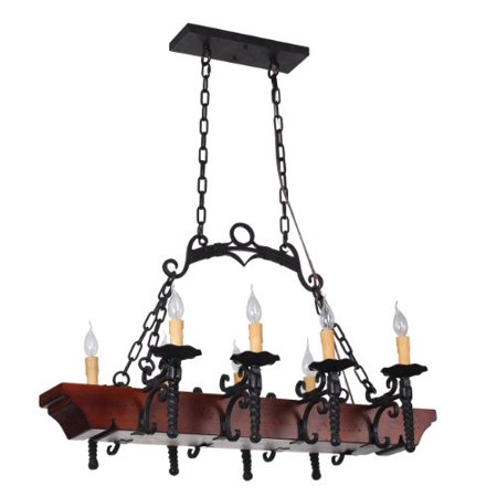 Tudor 8 Light Wrought Iron Dining Room Or Kitchen Island Chandelier With Faux Candles And Wood Foundation