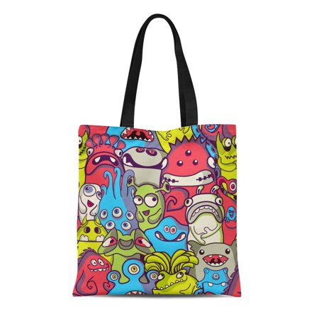 ASHLEIGH Canvas Tote Bag Green Pattern Alien and Monsters Cool Cartoon Funny Cute Reusable Shoulder Grocery Shopping Bags Handbag (Monster Handbag)