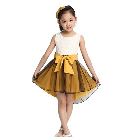 High-Low Hem Girls Dress Beautiful Sleeveless Floral Lace Dress with 2 Layered Soft Chiffon/Tulle Bottom, Yellow, Size 3Y](Girls Beautiful Dress)
