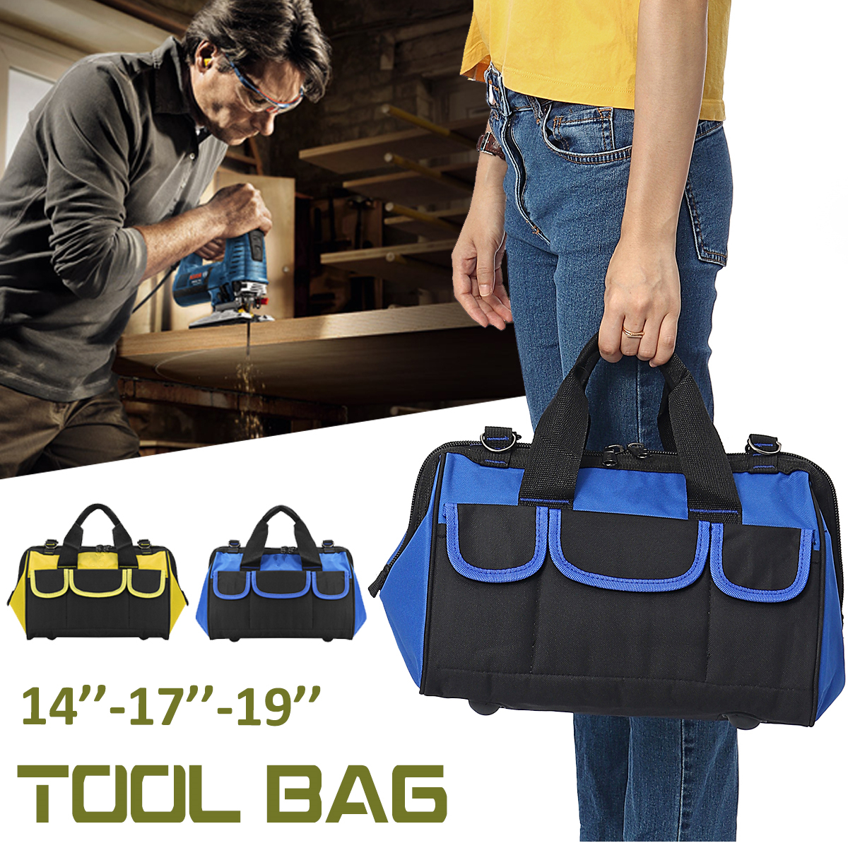 3 Sizes Portable Electrician Canvas Tool Bag Nylon Canvas Heavy Duty Tool Bag Contractor Storage Hardware Case by Generic