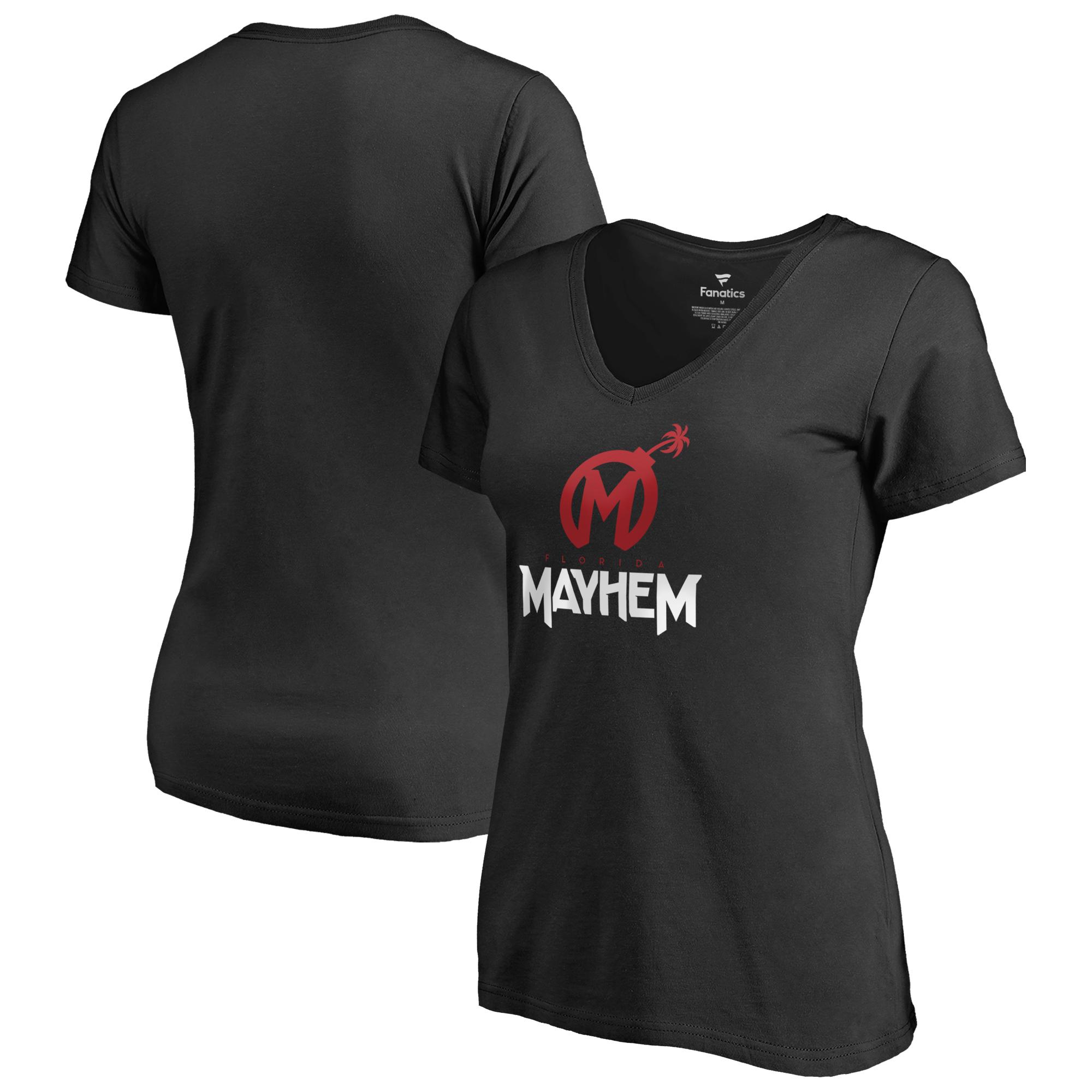 Florida Mayhem Fanatics Branded Women's Team Identity V-Neck T-Shirt - Black