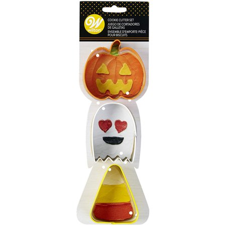Simple Halloween Cookie Decorating (Halloween 3 pc COokie Cutters - Pumpkin, Ghost & Candycorn, Genuine Wilton Product By)