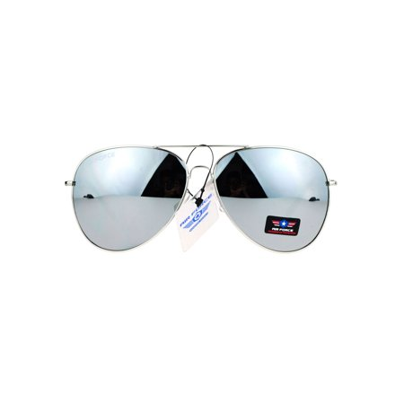 Airforce Mens Oversize Classic Officer Metal Rim Aviator Sunglasses Silver Mirror