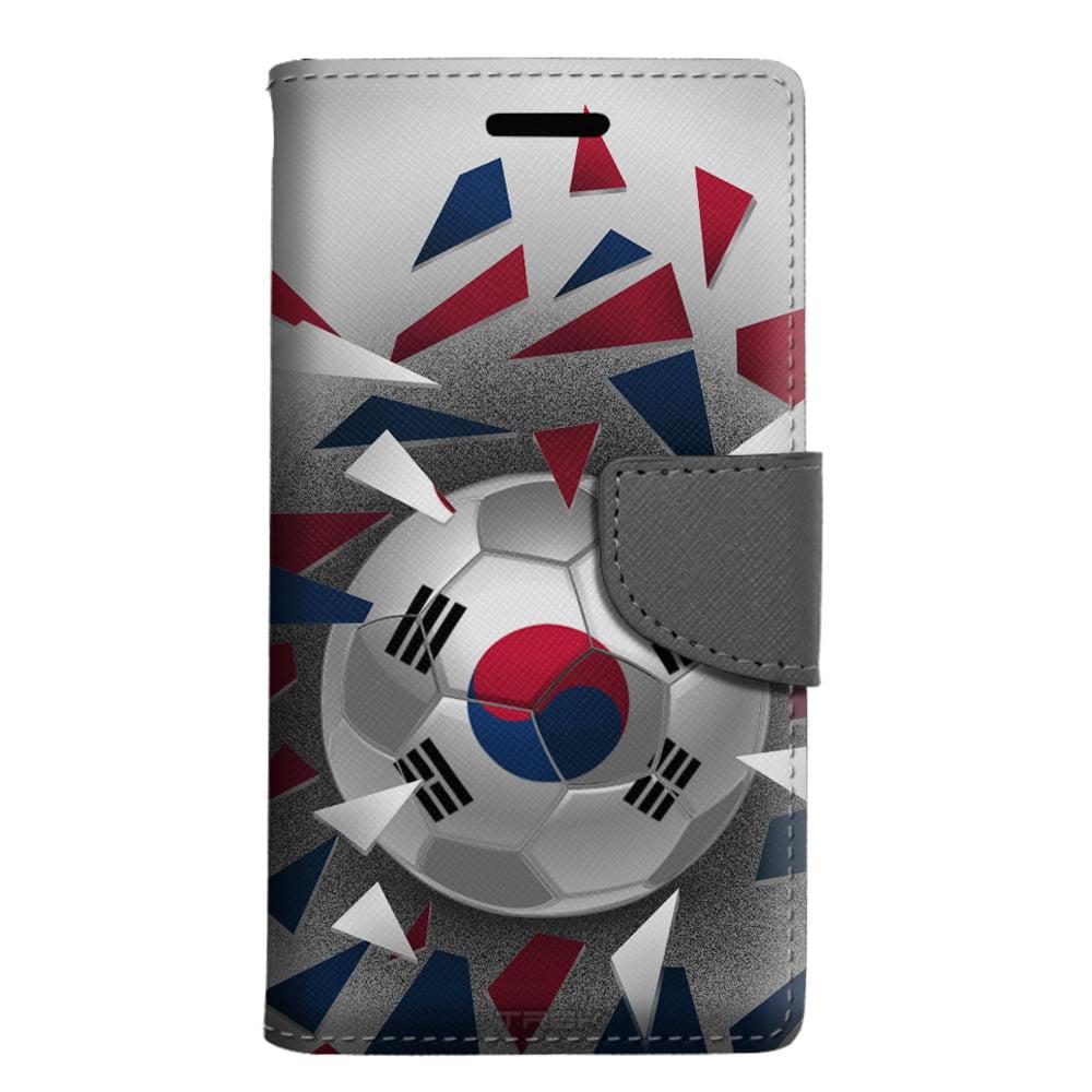 ZTE Prestige 2 Wallet Case Soccer Ball Korea Flag Case by Trek Media Group