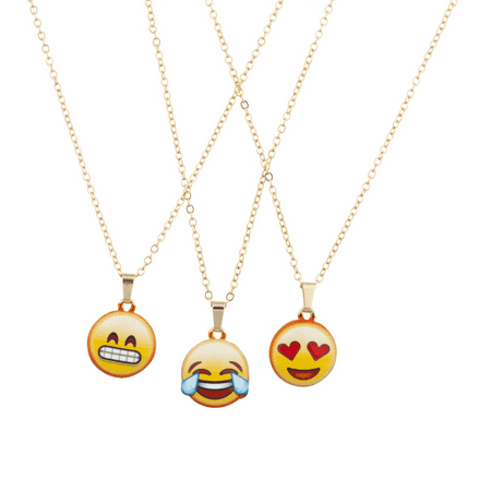 Lux Accessories Gold Tone Emoji Smiley Faces Novelty Charm Necklace Set (3PCS) (Novelty Necklaces)