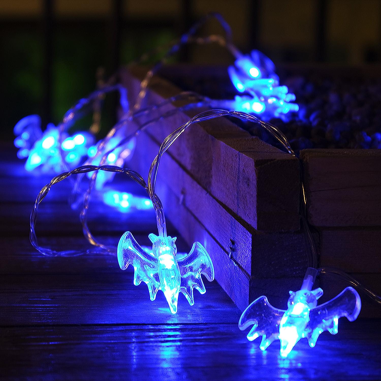 TORCHSTAR String Lights with Bat Pendants, Outdoor Halloween Decorations Lights, Battery Powered