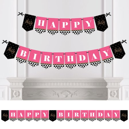 Happy Birthday 30th (Chic 30th Birthday - Pink, Black and Gold - Birthday Party Bunting Banner - 30th Party Decorations - Happy)