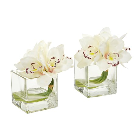 Cymbidium Orchid Artificial Arrangement in Glass Vase (Set of - Potted Cymbidium Orchids