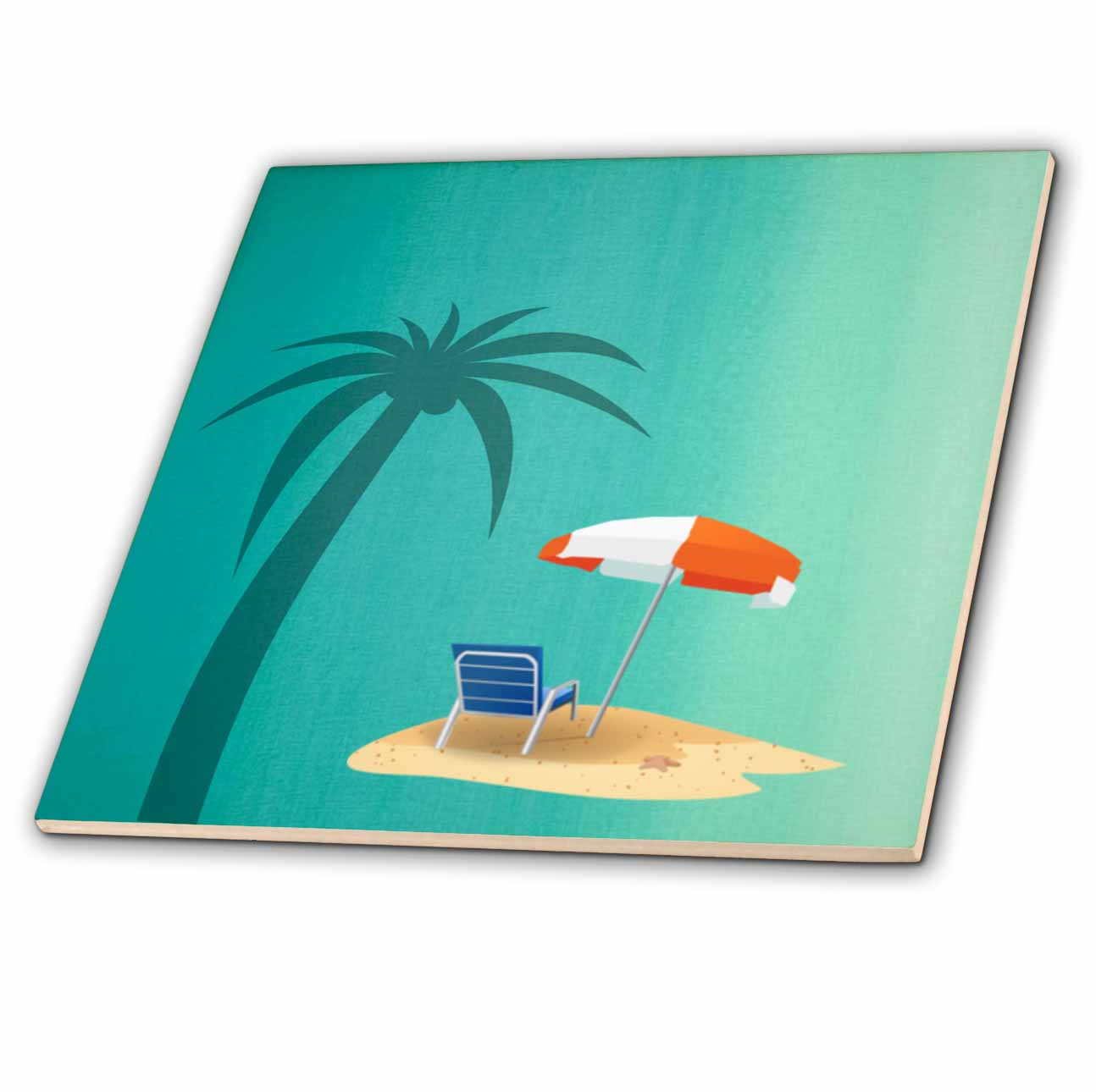 3dRose Print of Palm Tree Beach Chair And Umbrella On Turquoise Ceramic Tile, 4-inch by 3dRose