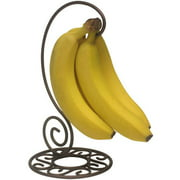Home Basics Scroll Collection Sturdy Steel Banana Holder Hook Tree Stand, Bronze