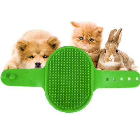 GLiving Pet Bath & Massage Brush Great Grooming Tool for Shampooing and Massaging Dogs and Cats with Short or Long Hair - Soft Rubber Bristle Comb Gently Removes Loose & Shed Fur from Your
