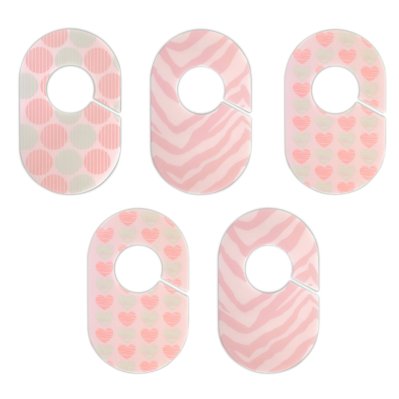 Little Haven Nursery Closet Organizers Dividers - Pink and Aqua Hearts and Animal Print - Set of 5 Plastic Baby Closet Rod Dividers