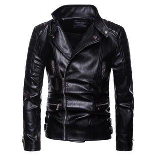 - Men Fashion Multi Poclets Zipper Leather Jacket