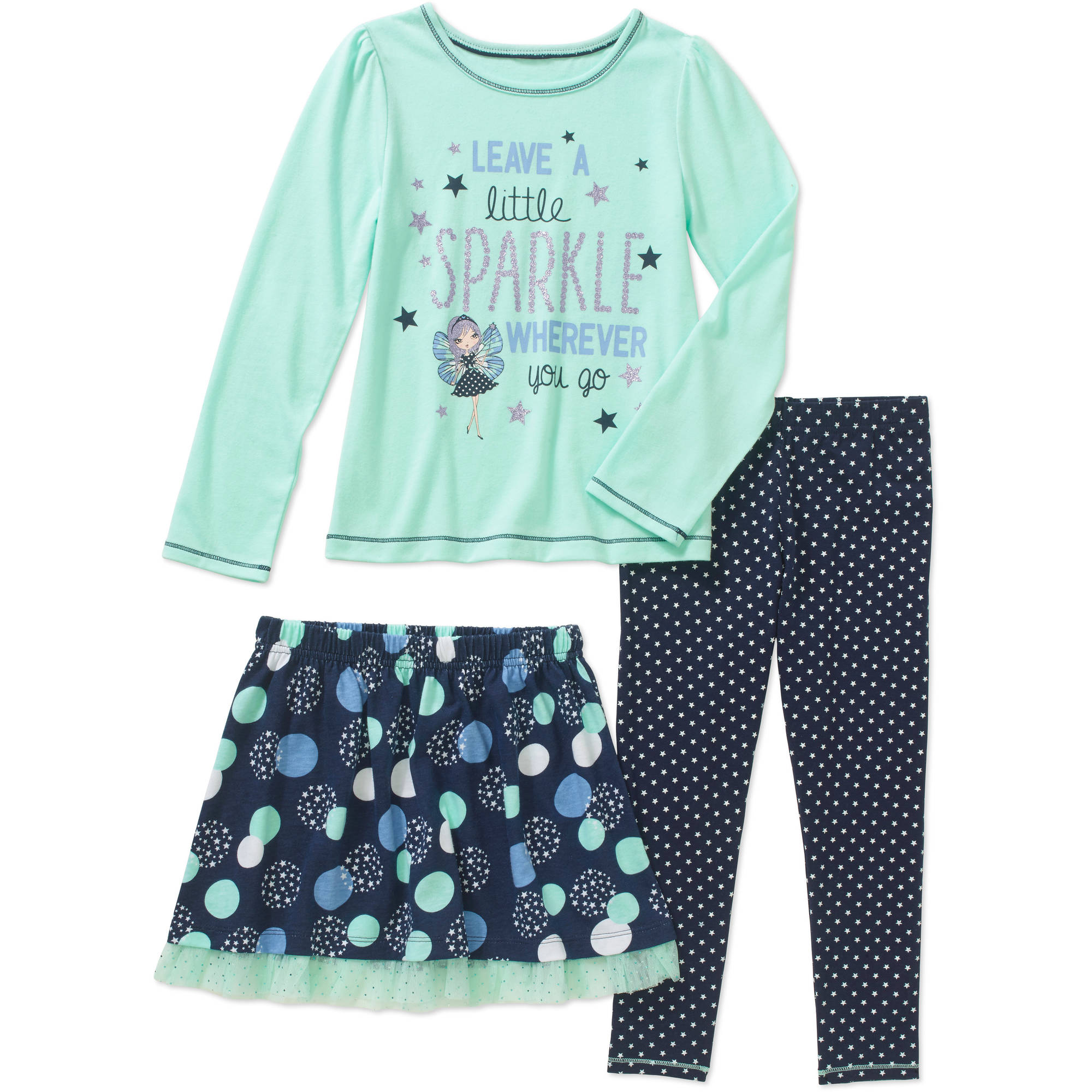 Healthex Girls' 3 Piece Set with Long Sleeve Top, Leggings, and Skirt