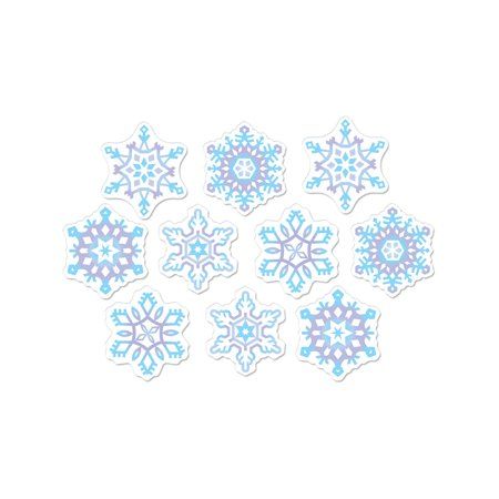 Set Of 10 Mini Snowflake Cutouts Christmas Holiday Party Decorations 4.5