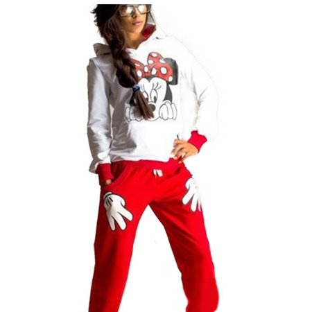 First Lady Suits (Womens 2Pcs Hoodie Tracksuit Mickey Mouse Sweatshirt Sweater Sports Jogging Pants)