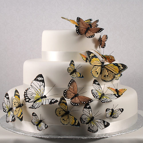 Wedding Star 9152-24 Beautiful Butterfly Cake Sets- Natural Elegance