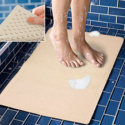 Decor Hut Bath Mat Rubber non slip, great for shower tubs or laundry room floors, large 22 by 14 inches, wont smell or mold, strong suction cups on bottom, wont move!
