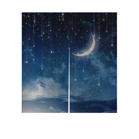 Night Door Curtain - GCKG Moon Star In Blue Sky Beautiful Night Doorway Curtain Japanese Noren Curtains Door Curtain Entrance Curtain Size 85x90 CM