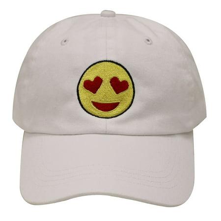 C104 Heart Eyes Emoji Cotton Baseball Cap (White)](White Baseball Caps)