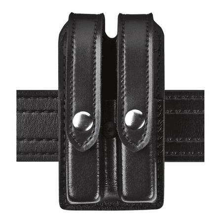 safariland 78-slimline double mag pouch beretta 8045f bw black w/chrome snaps ()