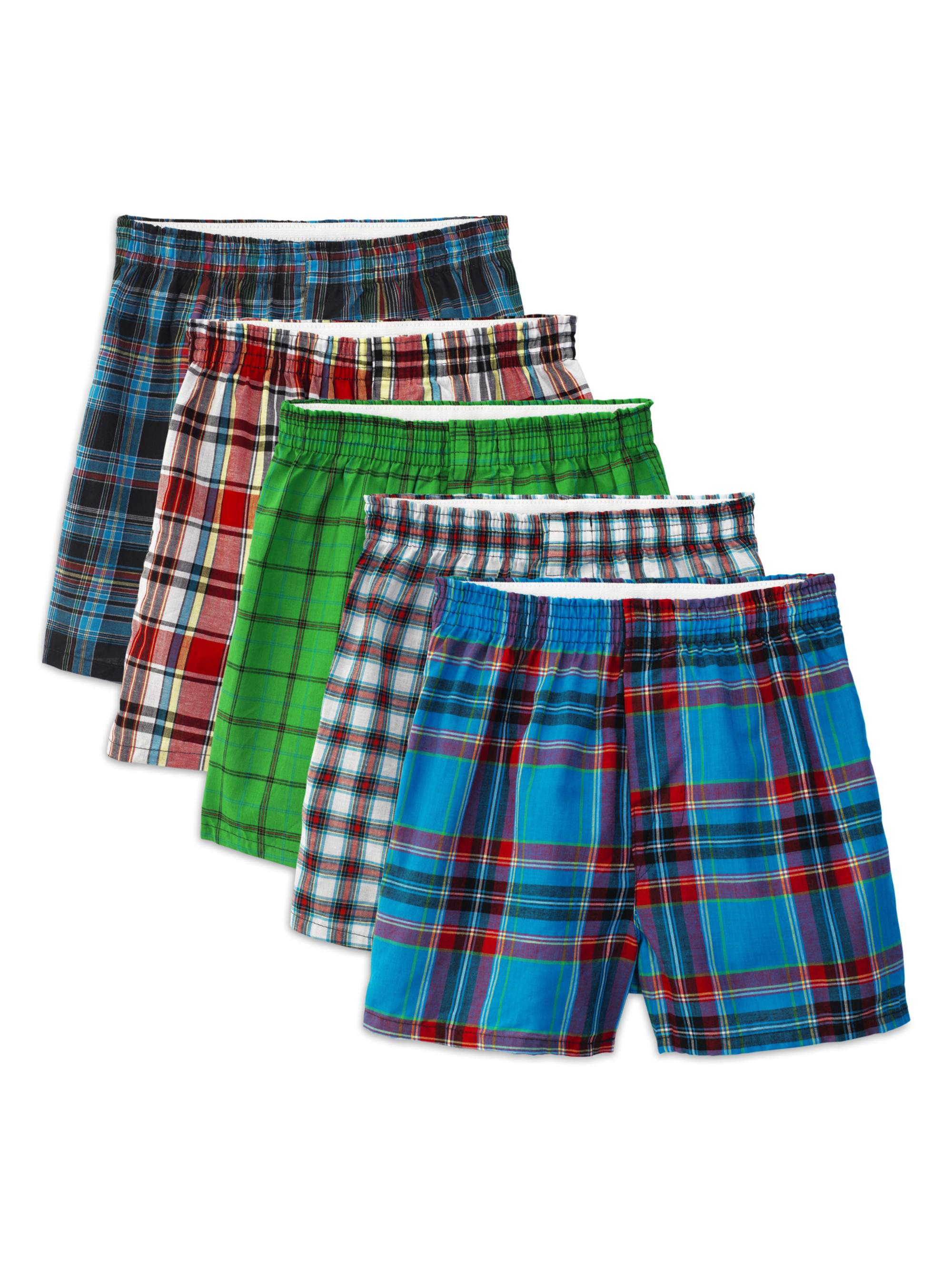 Fruit of the Loom Tartan Plaid Woven Boxers, 5 Pack (Big Boys)