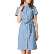 Allegra K Women's Peter Pan Collar Belted Short Sleeve Denim Shirt Dress (Size XS / 2) Blue