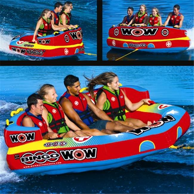 WOW World of Watersports 14-1080 Bingo 4 Inflatable, Secure Cockpit Seating Towable, Front and Back Tow Points by World of Watersports