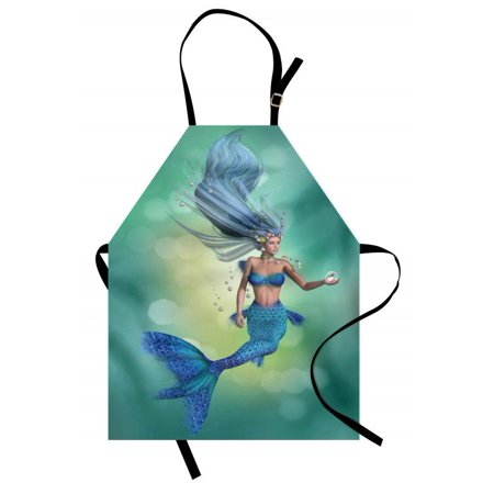 - Underwater Apron Mermaid Upper Body of a Woman and the Tail of Fish for Swimming Marine Life, Unisex Kitchen Bib Apron with Adjustable Neck for Cooking Baking Gardening, Teal Pale Blue, by Ambesonne