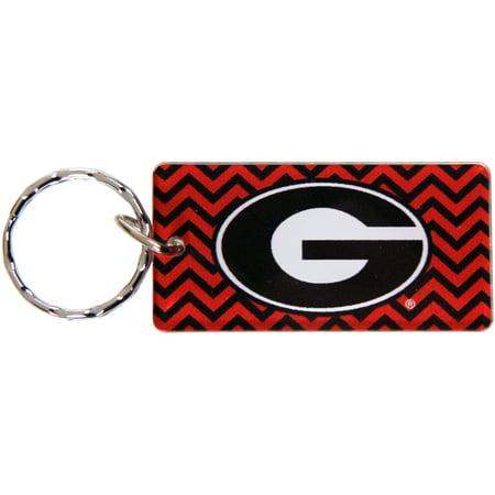 Georgia Bulldogs Chevron Printed Acrylic Team Color Logo Keychain - No Size