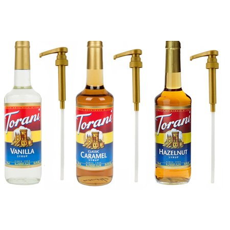 Torani Syrup, Vanilla, Caramel and Hazelnut, 25.4 oz (3 pack) Plus Three Syrup Pumps for Torani 25.4 Ounce Bottles, to Enhance Coffee, Latte,
