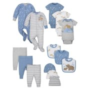 Wonder Nation Baby Boy Newborn Clothes Essentials Gift Set, 14-Piece