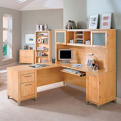 "Bush Somerset 71"" L-Shaped Desk with Hutch, Maple Cross"