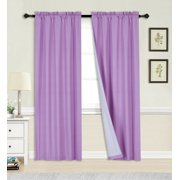"2PC LILAC BLACKOUT PANEL LINEN WHITE BACKING ROD POCKET PRIVACY WINDOW CURTAIN TREATMENT 37"" WIDE X 84"" LENGTH EACH PANEL R64"