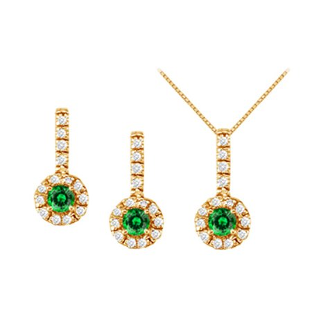 May Birthstone Emerald with CZ Halo Earrings and Pendant in 18K Yellow Gold Vermeil - image 1 of 2