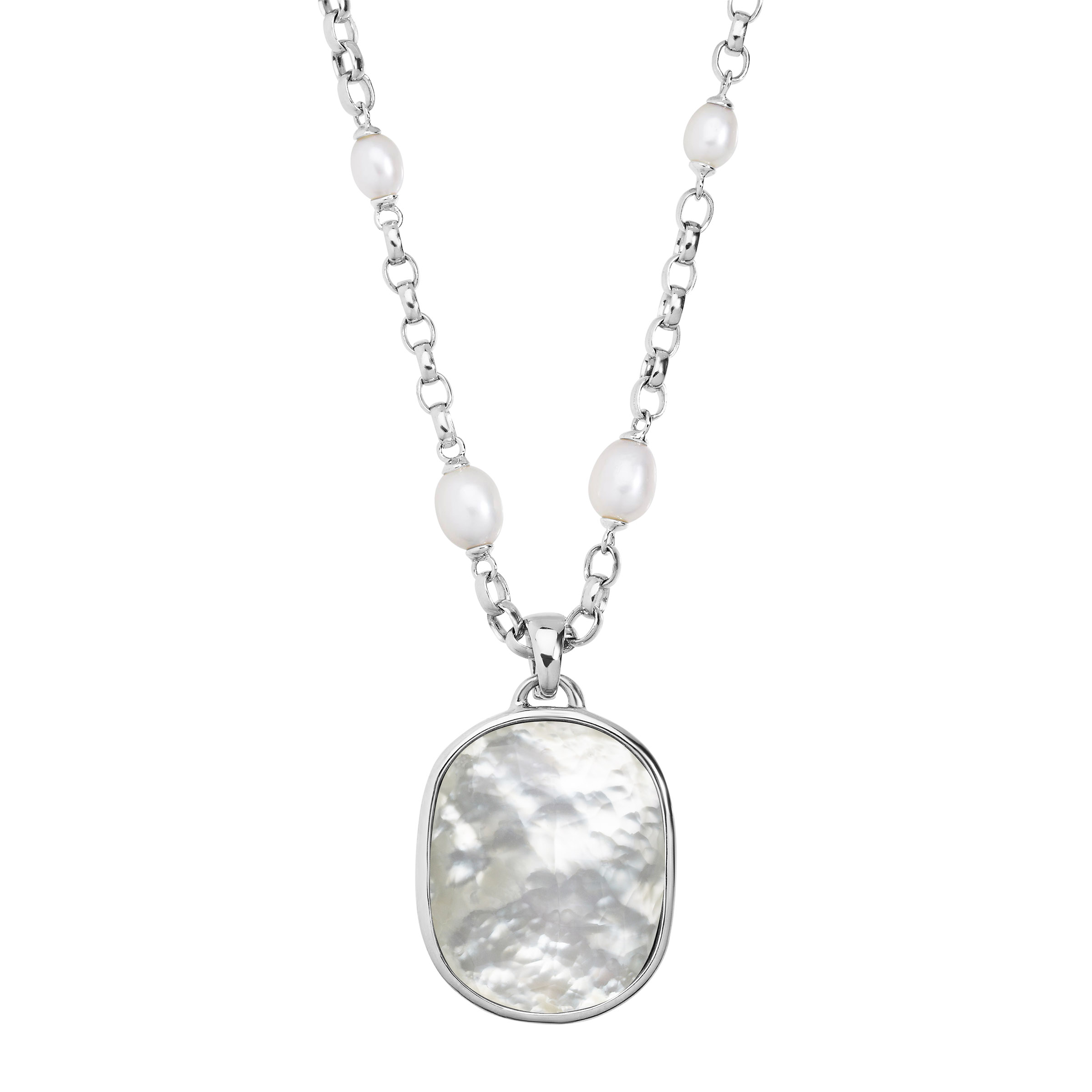 Honora Oval Freshwater Pearl Necklace with Mother-of-Pearl Doublet Enhancer in Sterling Silver by Richline Group